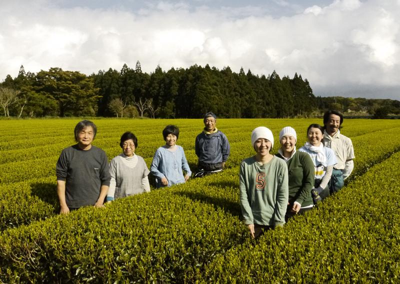 M. et Mme Watanabe, Mme et M. Goto et les nombreux jeunes travailleurs du jardin de thé