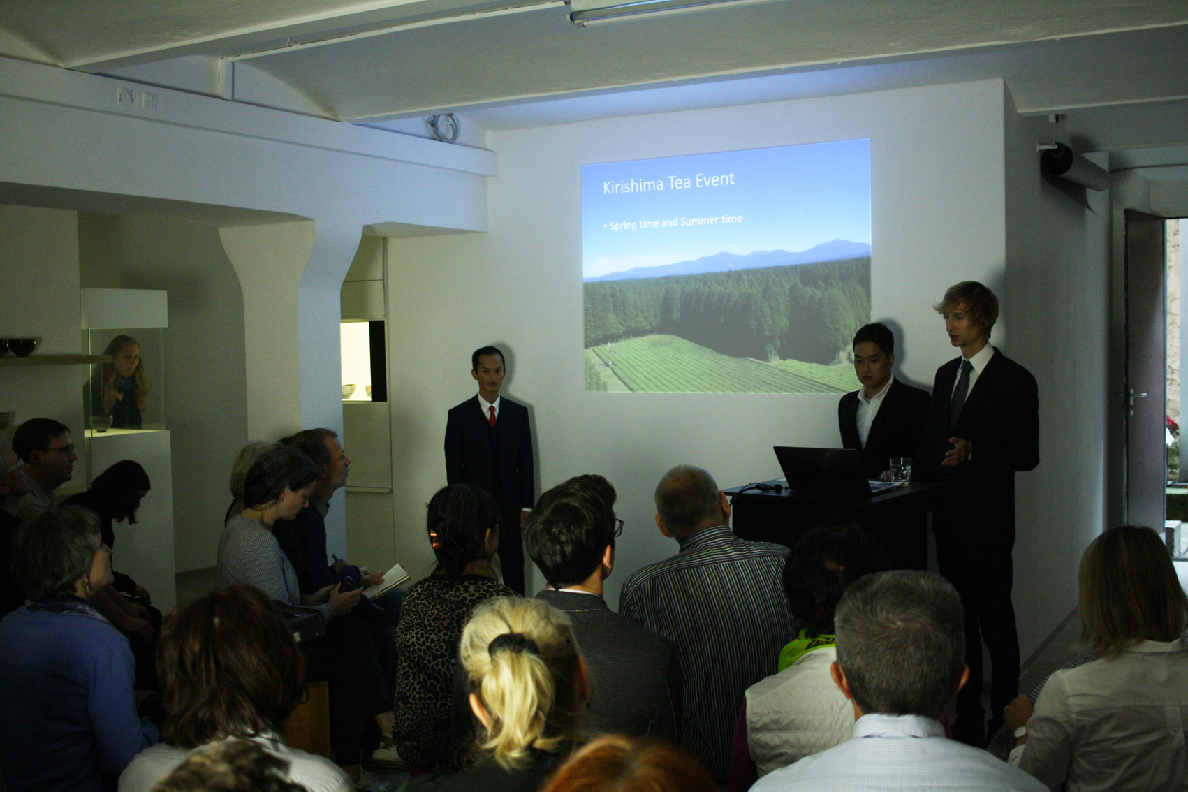 Shutaro and Kenji Hayashi during the presentation of their tea garden