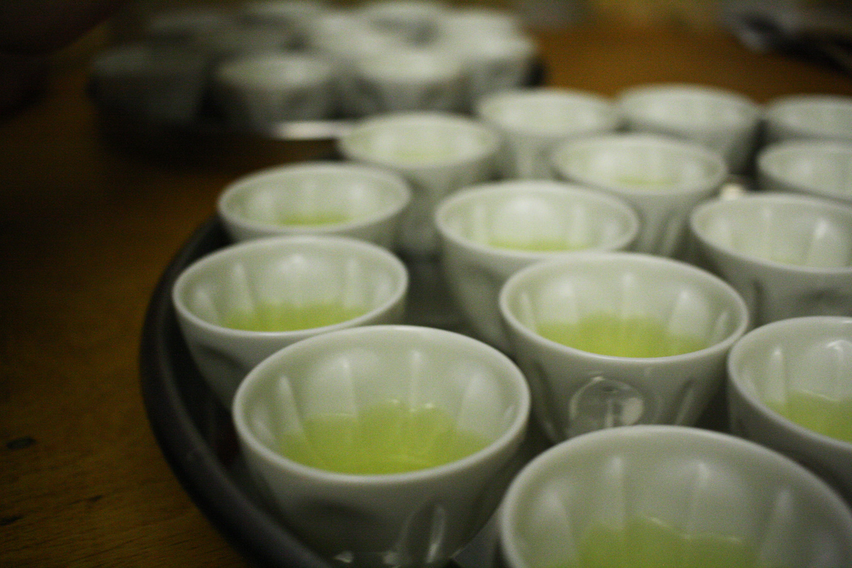 Sakura-Mini tea cups filled with Kirishima Tokujou Sencha