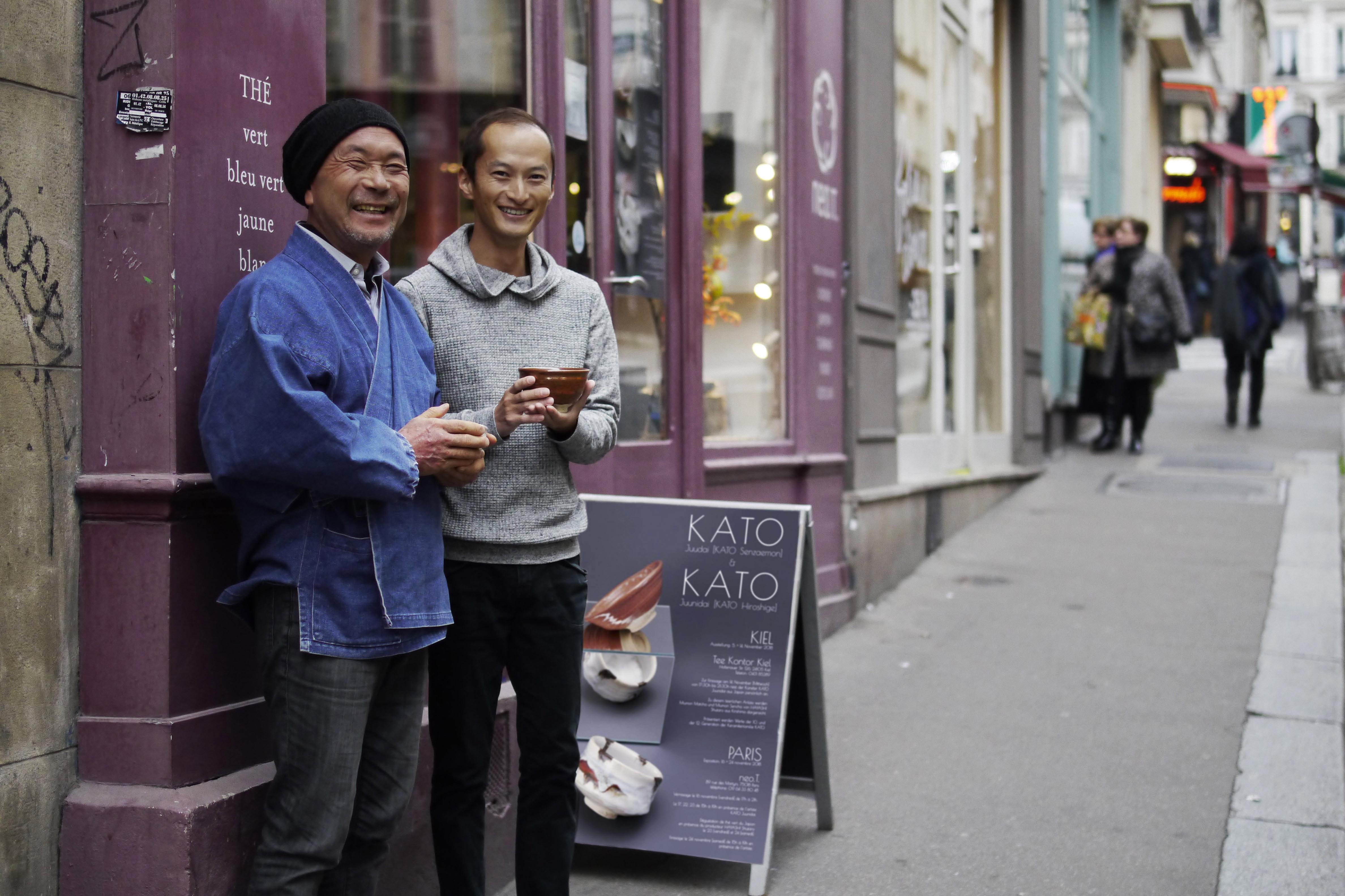 KATO Juunidai et Shutaro Hayashi lors de l'exposition à Paris