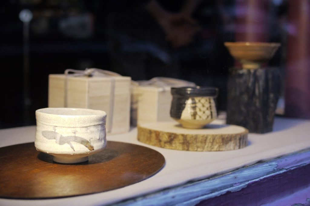 Three matcha bowls [chawan] by KATO Juunidai [KATO Hiroshige], from left to right: Shino, Kuro-Seto, Aka-Raku